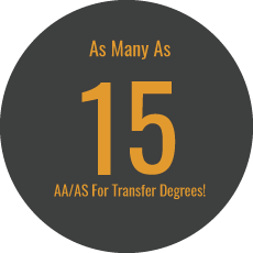 As many as 15 aa/as for transfer degrees