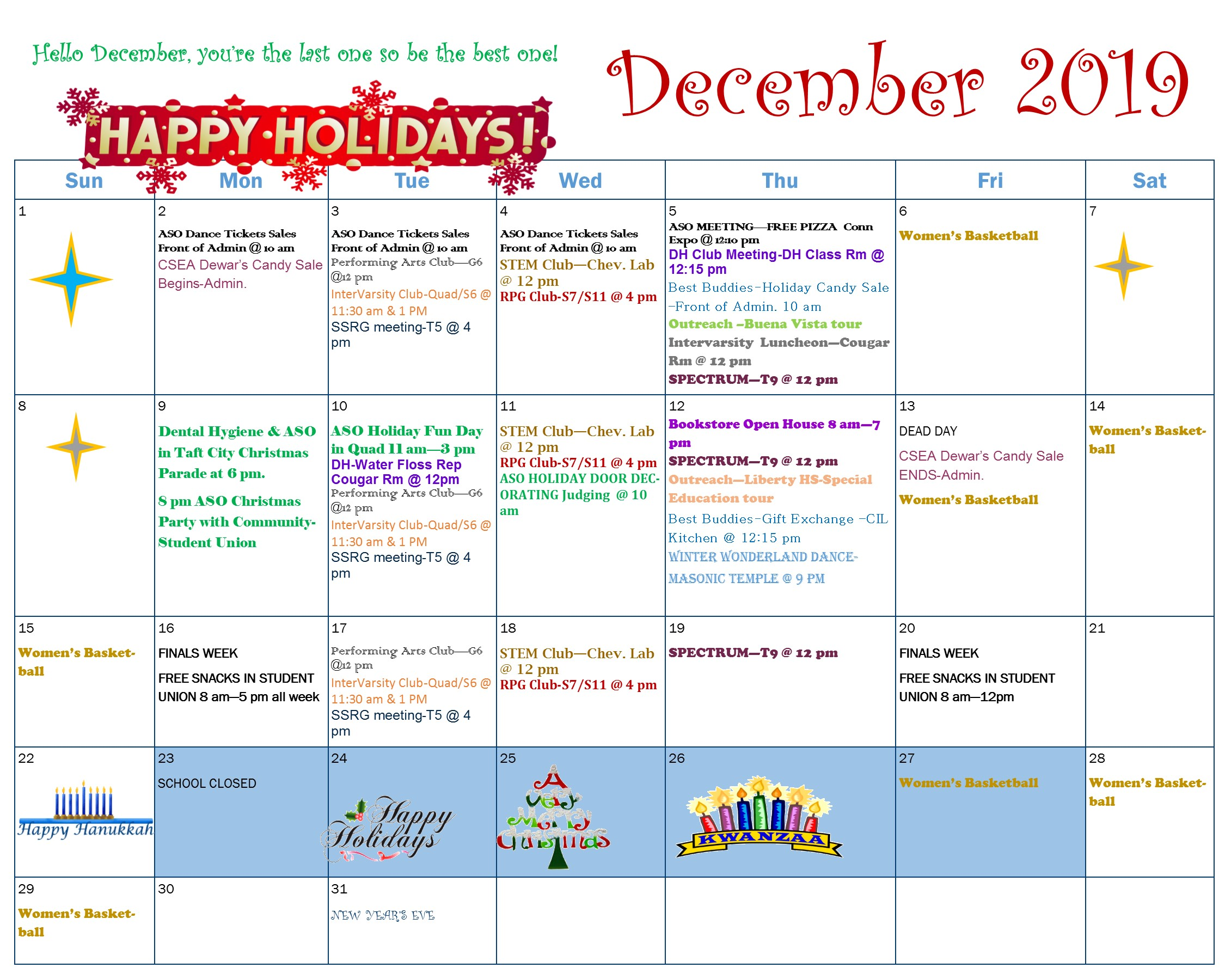 December Calendar of events please download the PDF.