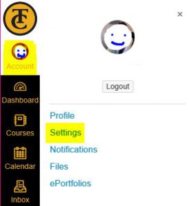 Image showing location of Settings link on Canvas.