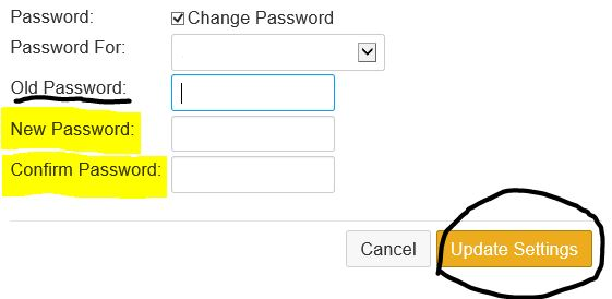 image showing how to update old password to new password and click Update Settings.