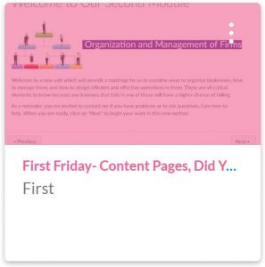 First Fridat- Content Pages, Did You Know? Training course shell