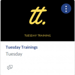 Tuesday Training Class