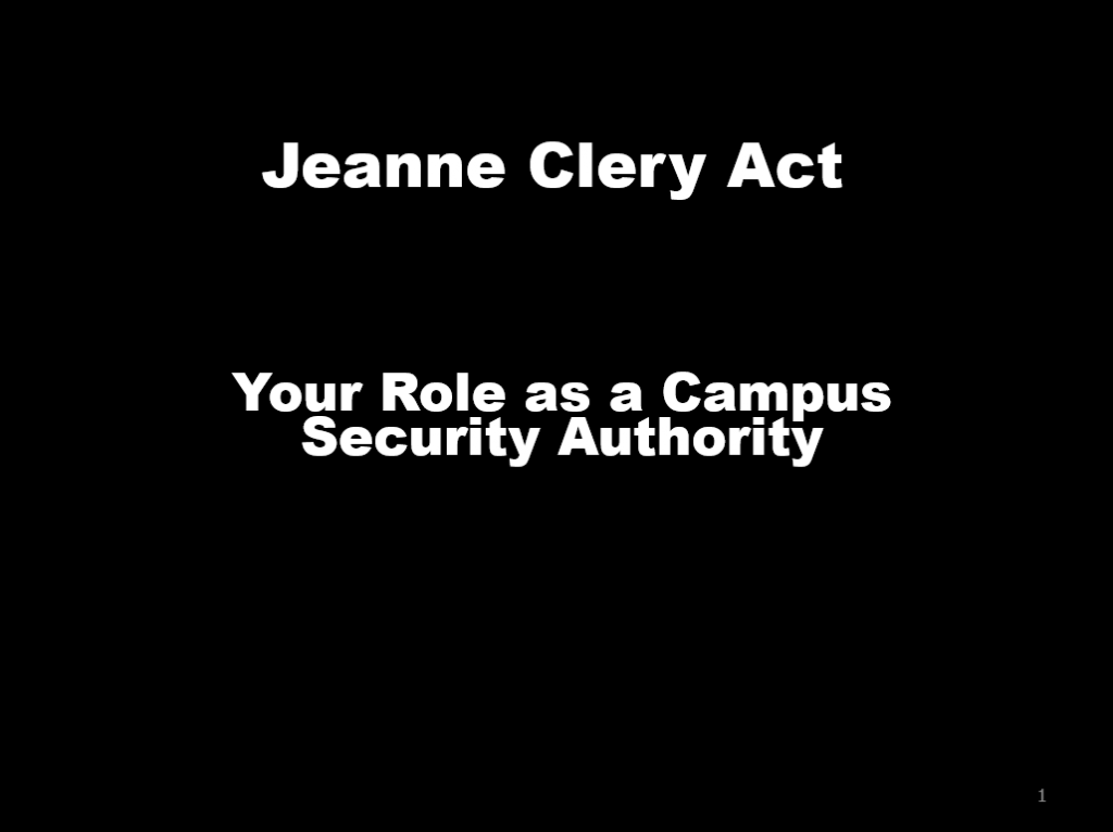 Your Role as a Campus Security Authority