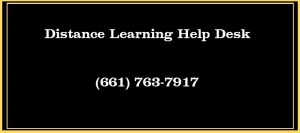 Info Graphic containing Distance Learning Help Desk phone number 661-763-7917
