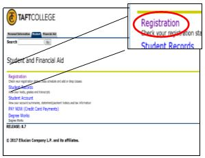 Registration option in Cougar Tracks