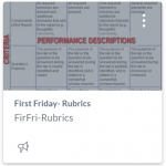 First Friday- Rubrics