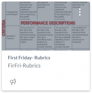 First Friday- Rubrics