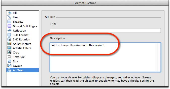 Screenshot of Format Picture window displaying the Alt Text interface for Description region for Word 2011 for Mac.