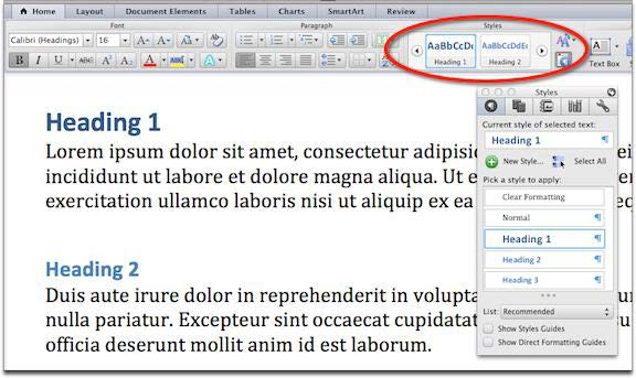 Screenshot of Styles ribbon and Styles formatting palette in Microsoft Word 2011 for Mac.