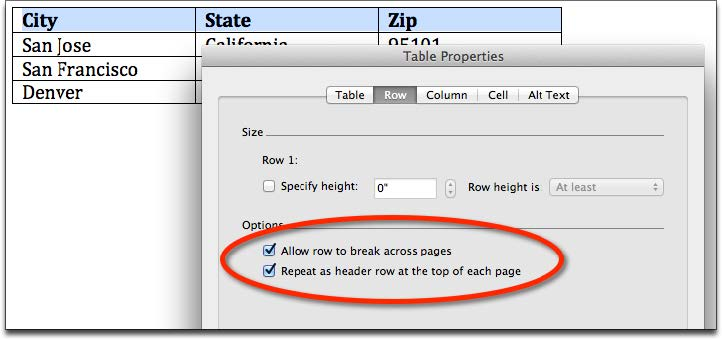 Screenshot of the table properties window with the row tab selected.