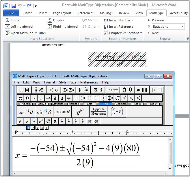Screenshot of the MathType Equation Editor in MS Word 2010