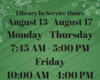 Library Inservice Hours August 2018